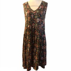 LOFT Grey , Pink Floral Sleeveless Summer Dress M